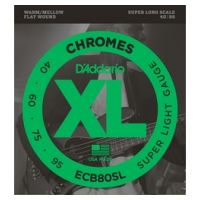 Thumbnail van D'Addario ECB80SL Chromes super long Flat Wound super light