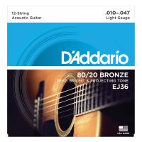 Thumbnail van D'Addario EJ36 80/20 12-String Bronze Acoustic Guitar Strings, Light, 10-47