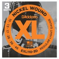 Thumbnail van D'Addario EXL110-3D 3PACK  XL nickelplated steel
