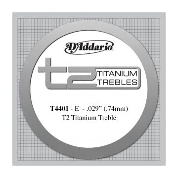 Preview van D'Addario T4401 T2 Titanium Treble Classical Guitar Single String, Extra-Hard Tension, First String