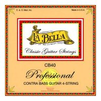 Thumbnail van La Bella CB40-PE string set contrabass 4, 750mm scale, clear nylon trebles & silverplated basses Plain end